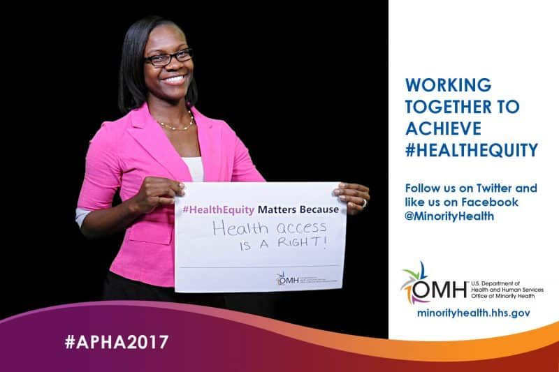 A participant at the APHA 2017 Atlanta Green Screen Photo Booth for OMH.