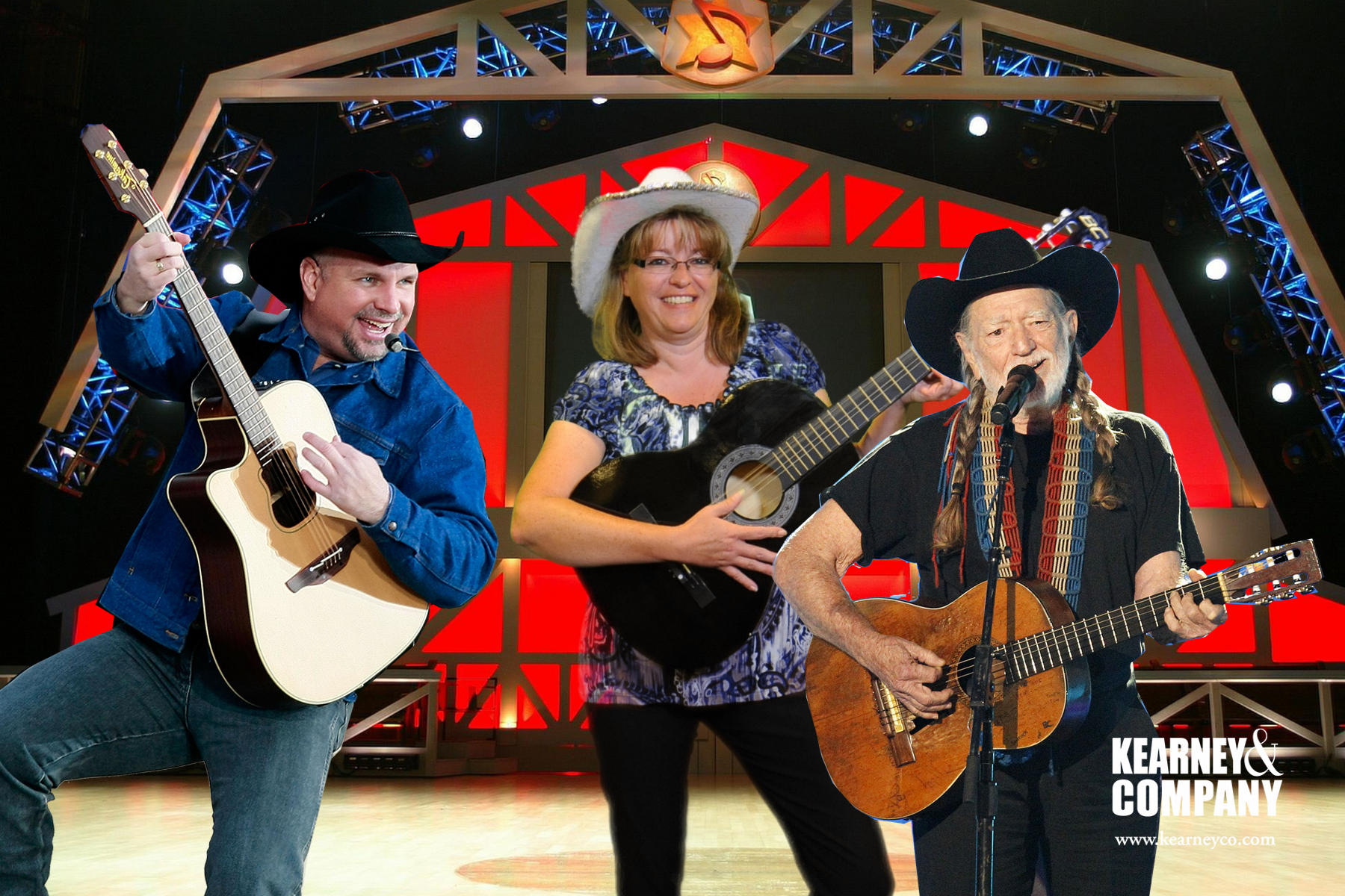 "The Grand Ole Opry is a popular background for our Nashville green screen photo booths. Willie and Garth ""join"" a participant on stage."