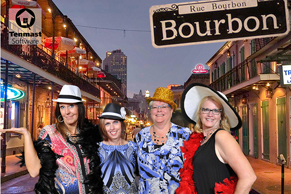 Participants on Bourbon Street for this New Orleans Green Screen Photo Booth