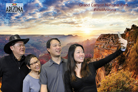 participants pose at the Grand Canyon for these Phoenix Green Screen Photo Booths