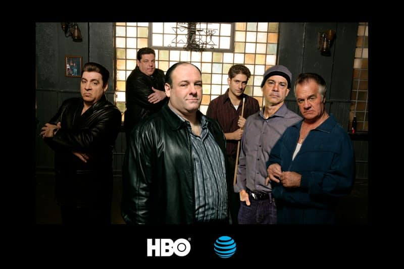 A participant joins the cast of the Sopranos during this Dallas green screen photo booth event held at AT&T's downtown corporate offices