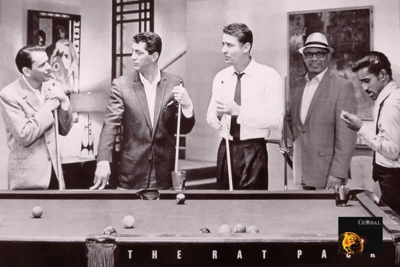 A participant at a Houston Green Screen Photo Booth (in the hat) joins the Rat Pack shooting pool. Everything but the man in the hat is digitally added.