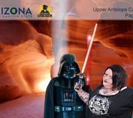 A participant at the Arizona Film Festival hangs with Darth Vader for these Phoenix Green Screen Photo Booths.