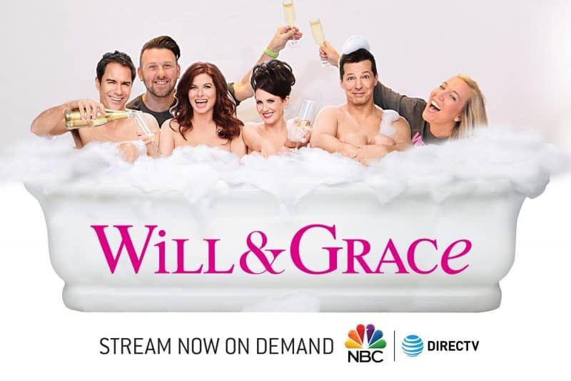 A Houston Green Screen Photo Booth featuring a bubble bath with the cast of Will and Grace.