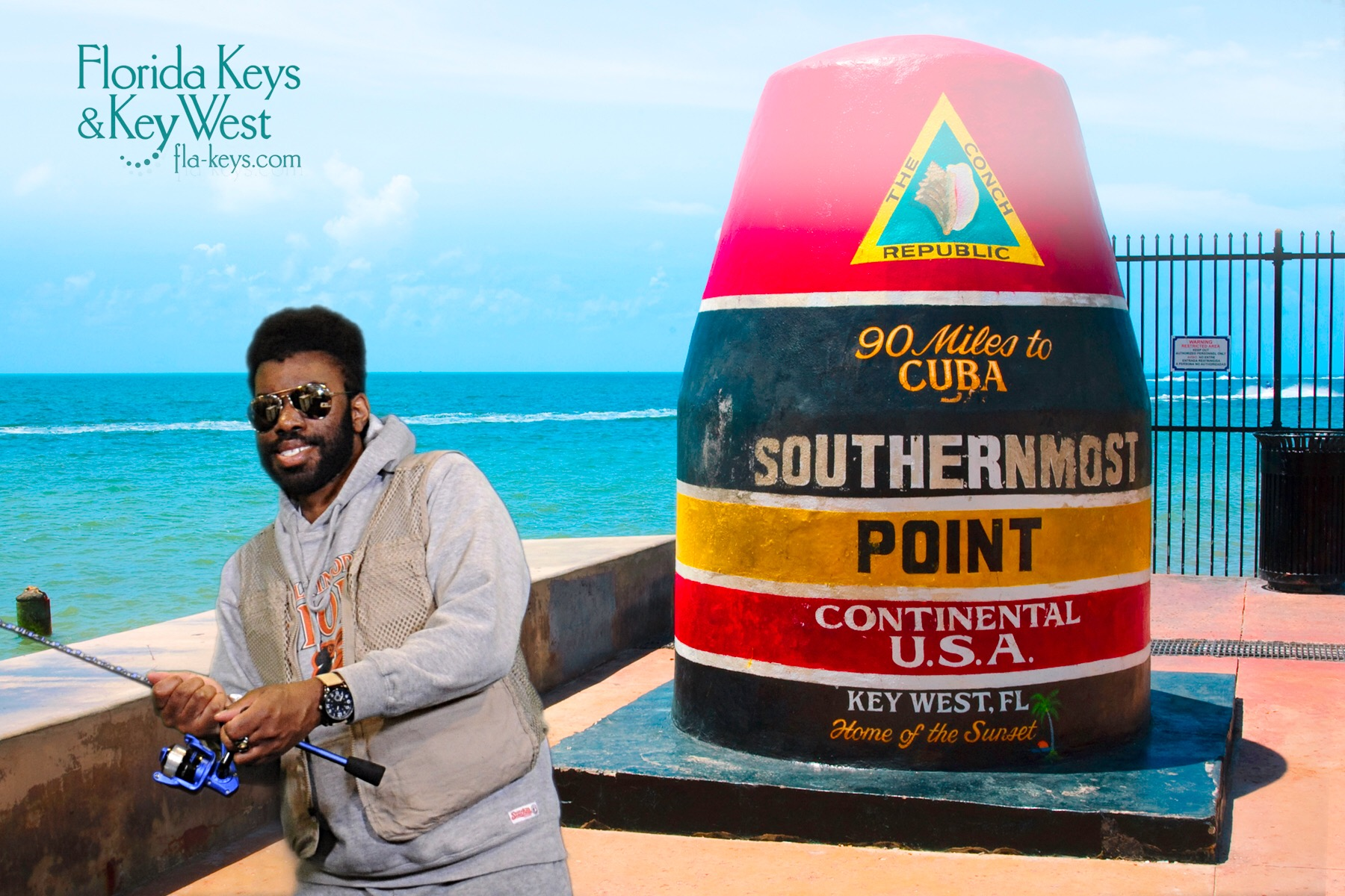 "A miami green screen photography image for Key West ""Southernmost Point""."