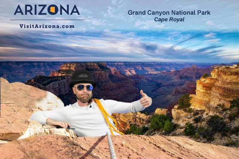 """A participant """"climbs"""" the Grand Canyon for this Phoenix Green Screen Photo Booth experience."""