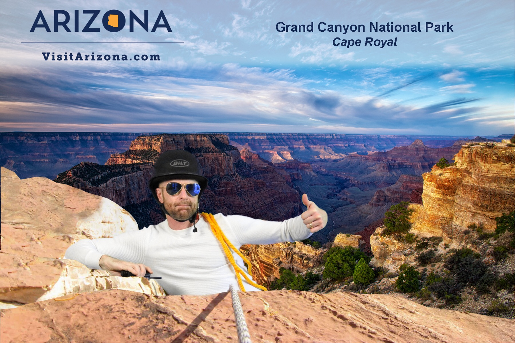 "A participant ""climbs"" the Grand Canyon for this Phoenix Green Screen Photo Booth experience."