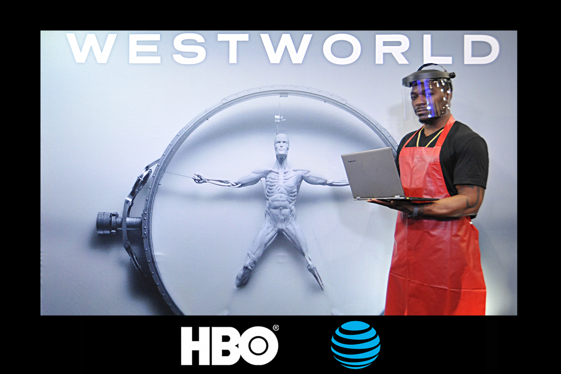 A participant poses as one of the technicians from HBO's Westworld in this Las Vegas Experiential Photo Marketing booth