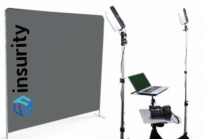Orlando head shot photo booth with custom background.