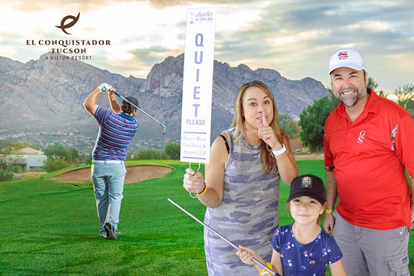 Phoenix green screen photo booth at PGA showing family as SHHHH attendant