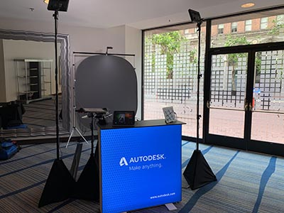 Miami headshot photo booth with custom counter for Autodeesk