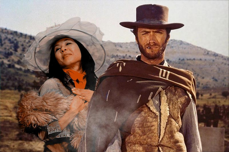 """Nashville green screen photo booth with a participant """"posing"""" with Clint Eastwood in the Good, the Bad, and the Ugly."""