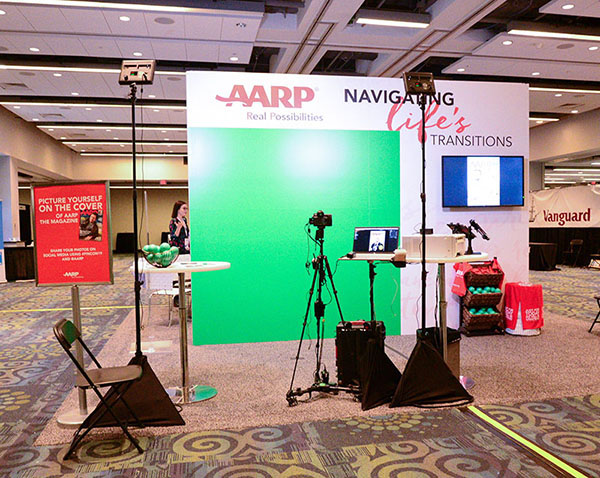 A Washington dc green screen photo booth for AARP, custom built to fit the space.