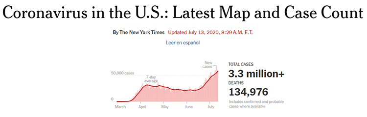 New Coronavirus infections in the US according to the New York Times.