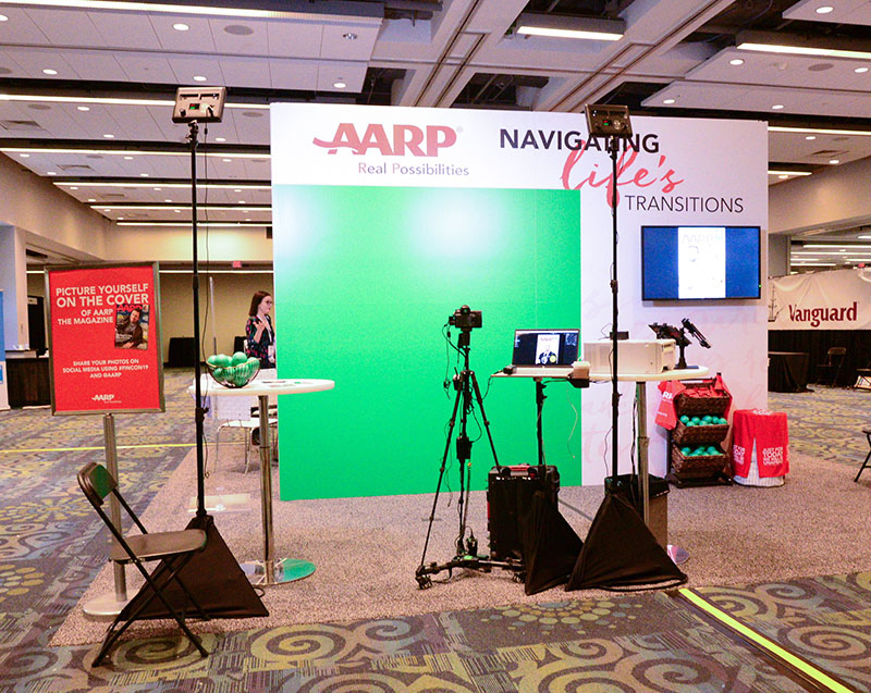 An experiential photo marketing booth for AARP at a Podcasting conference.