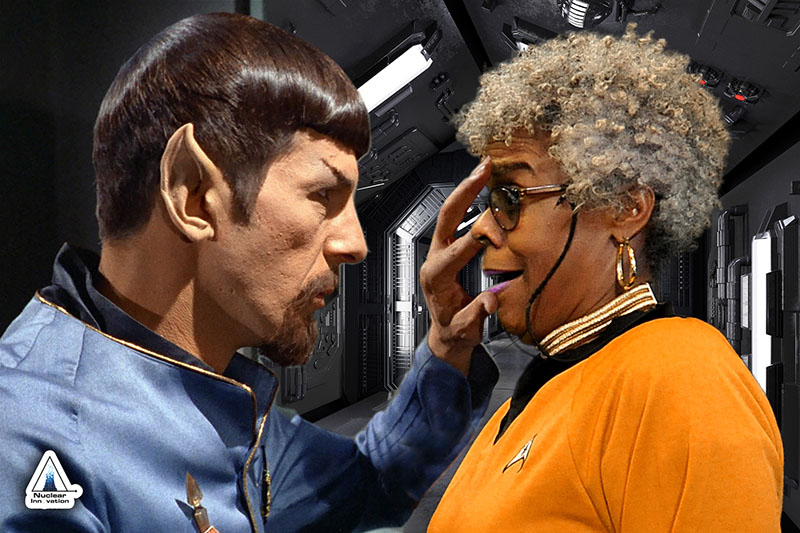 """A participant """"joins"""" Spock on deck for the famous Mind Meld scene. The participant replaces McCoy in this geeky Baltimore green screen photo booth."""