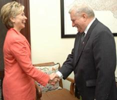 Hillary Clinton meets Lech Walesa at the US Senate