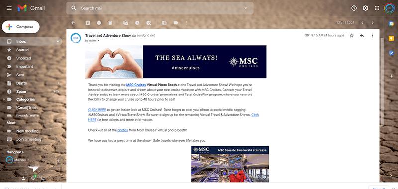 Virtual Photobooth customized email