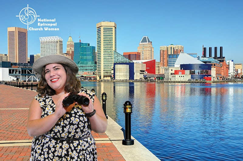 A participant poses against the Inner Harbor for this Baltimore green screen photobooth.