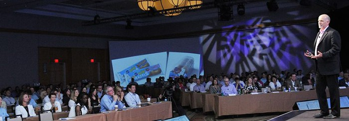 The CEO of General Mills address a national sales conference in Washington DC